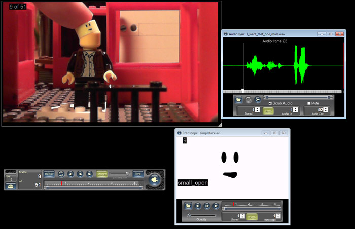 The Lip Sync Pro movie in the Stop Motion Pro rotoscope.  Note the audio file is also used.